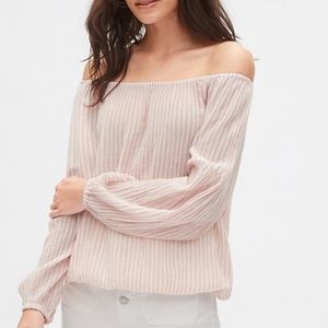 GAP Crinkle Stripe Off Shoulder Blouse